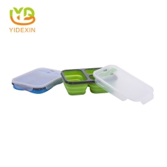 Factory Direct Folded Silicone Lunch Box with Spoon